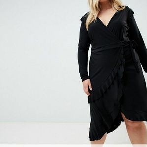 ASOS CURVE Frill Detail Wrap Dress